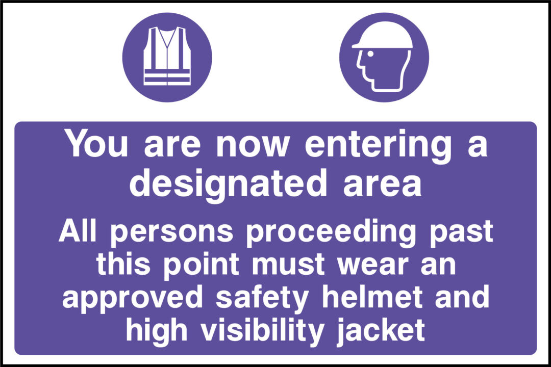 Designated PPE area sign