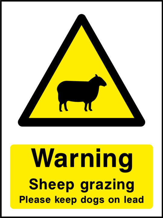 Sheep grazing sign