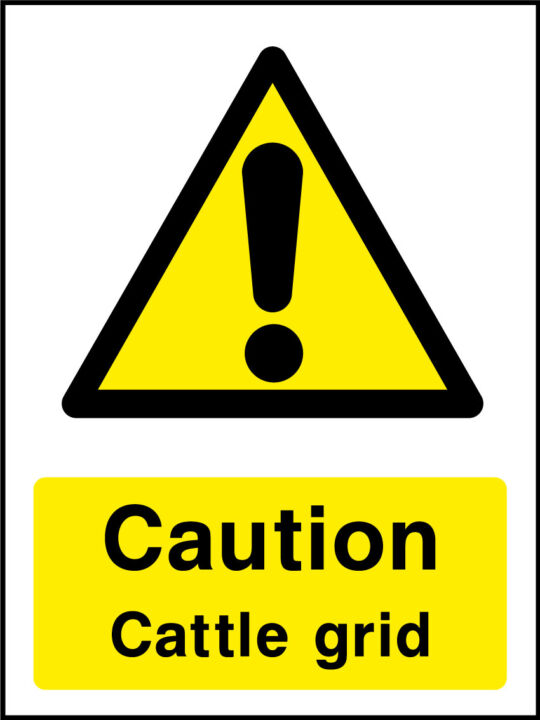 Caution cattle grid