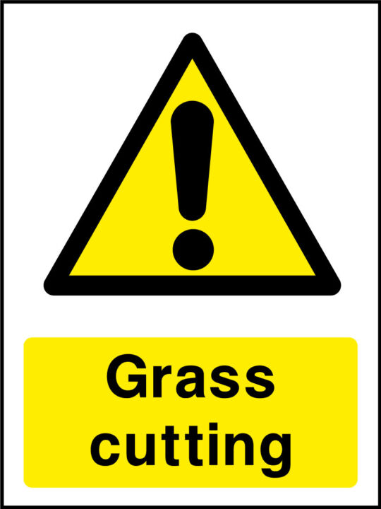 Grass cutting sign
