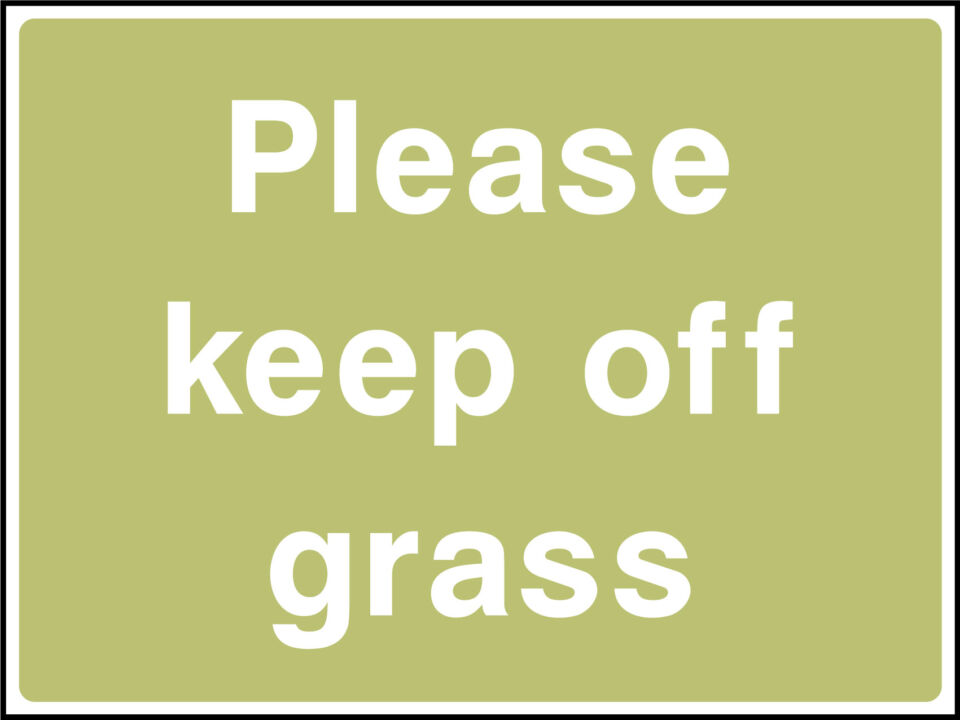 Please keep of grass sign