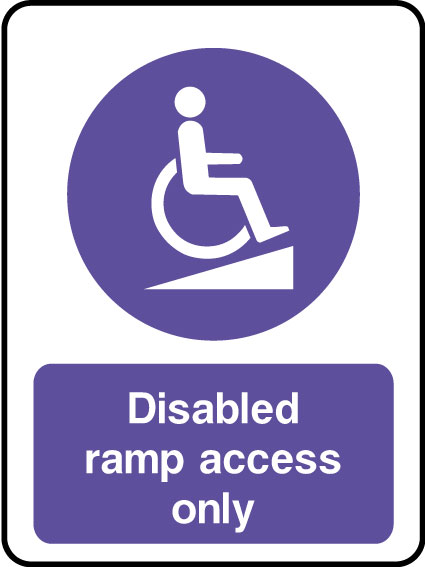 Disabled access ramp sign