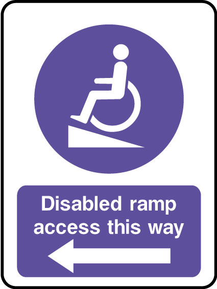 Disabled ramp access sign