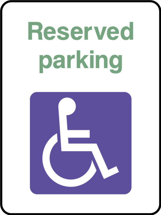 Reserved Disabled Parking Sign