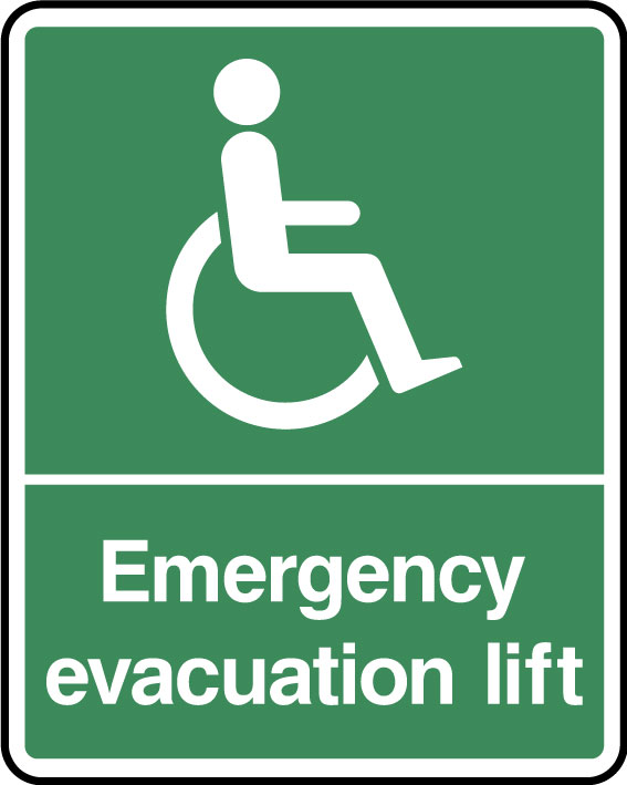 Emergency evacuation lift sign