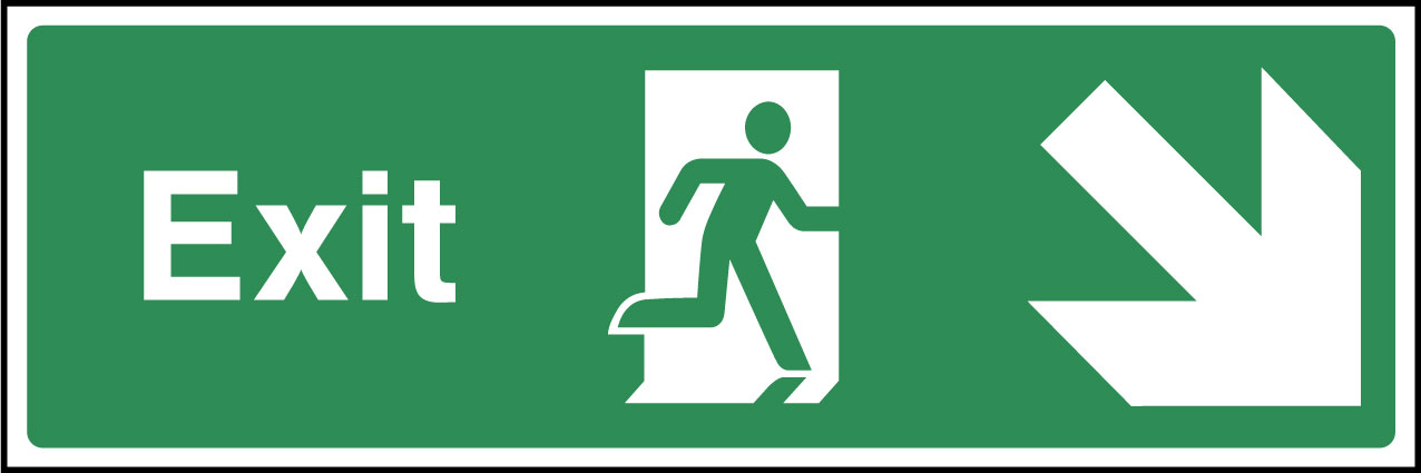 Exit down right sign