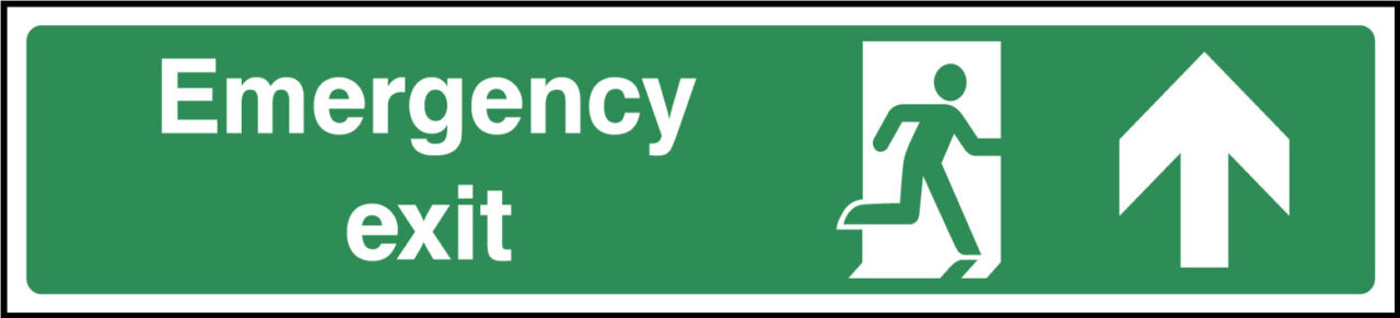 Emergency exit ahead sign