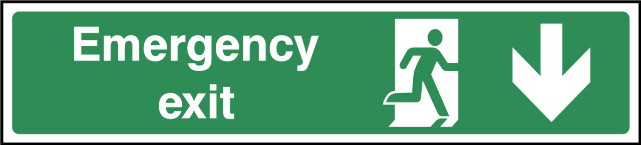 Emergency exit down sign