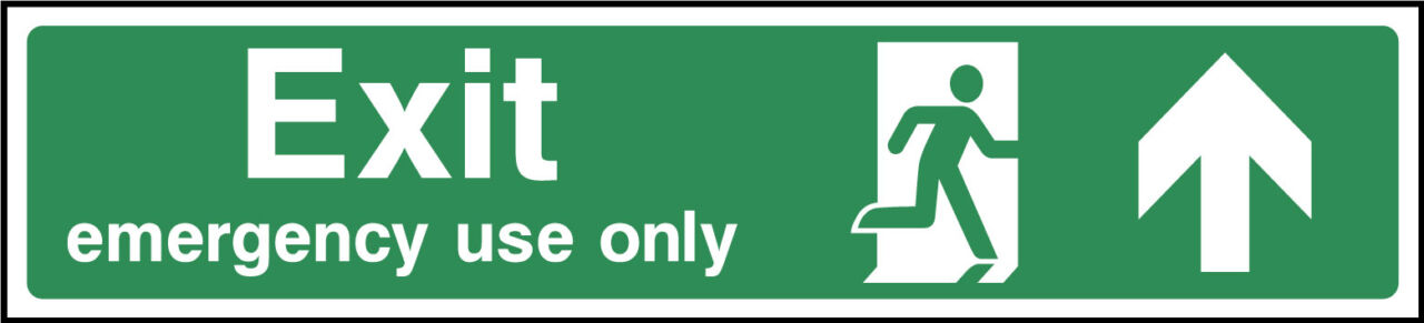 Exit emergency use only ahead sign