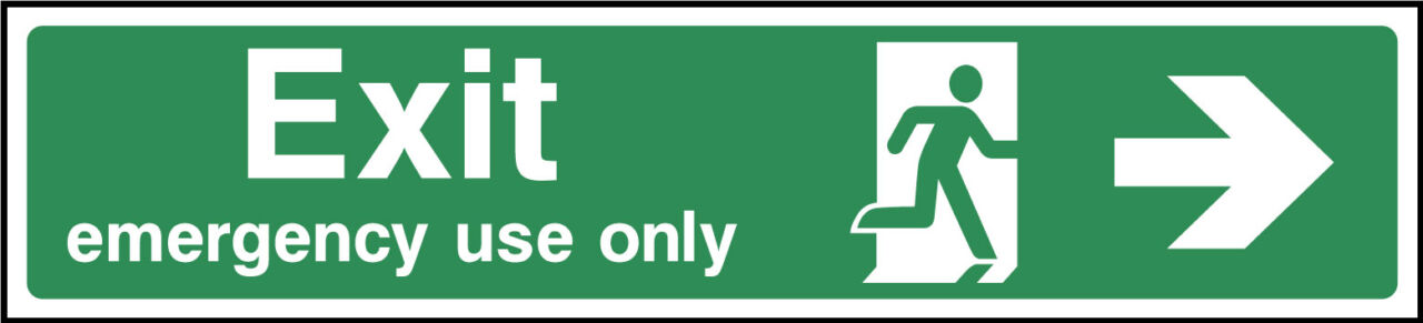 Exit emergency use only right sign