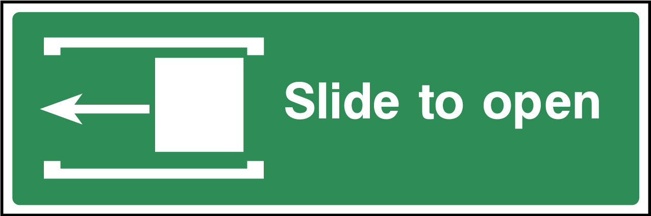 Slide left to open sign