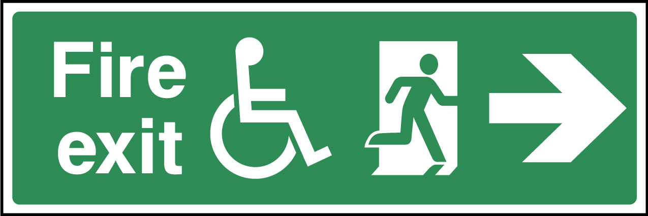 Disabled fire exit right sign