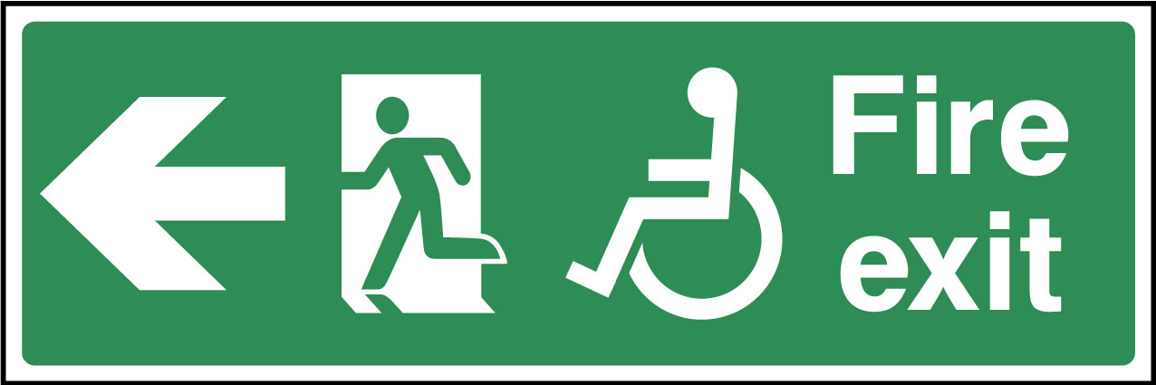 Disabled fire exit left sign