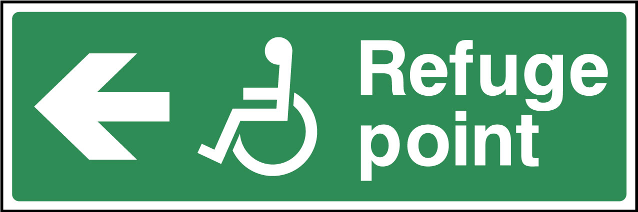 Disabled refuge point left sign