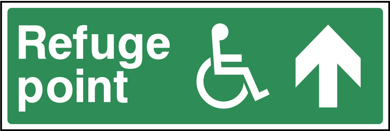 Disabled refuge point ahead sign