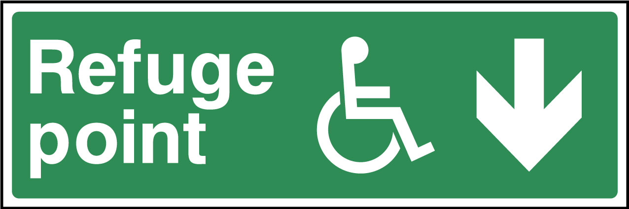 Disabled refuge point down sign