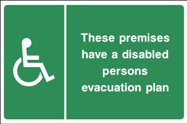Disable persons evacuation plan sign