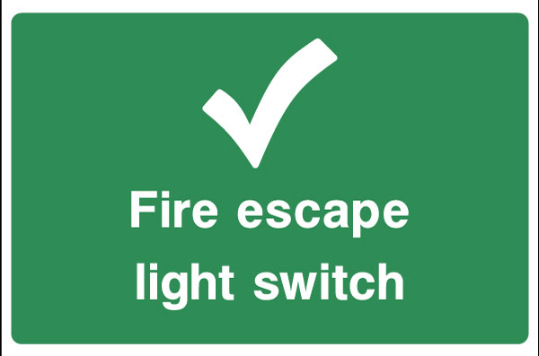 Fire Escape Light Switch Sign Health And Safety Signs