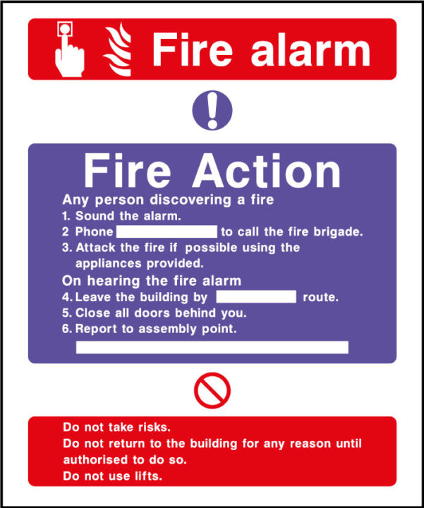 Fire action safety sign - fire alarm