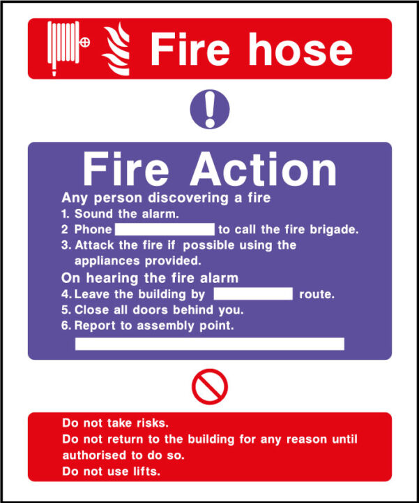Fire action safety sign - fire hose