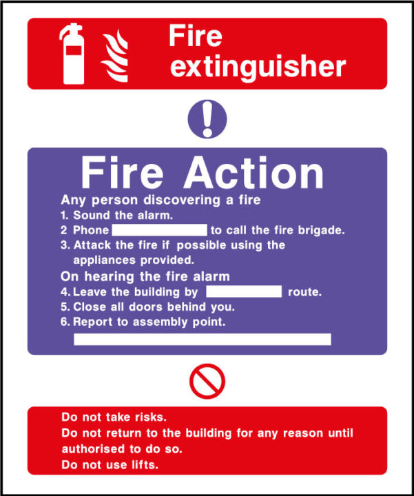 Fire action safety sign - fire extinguisher