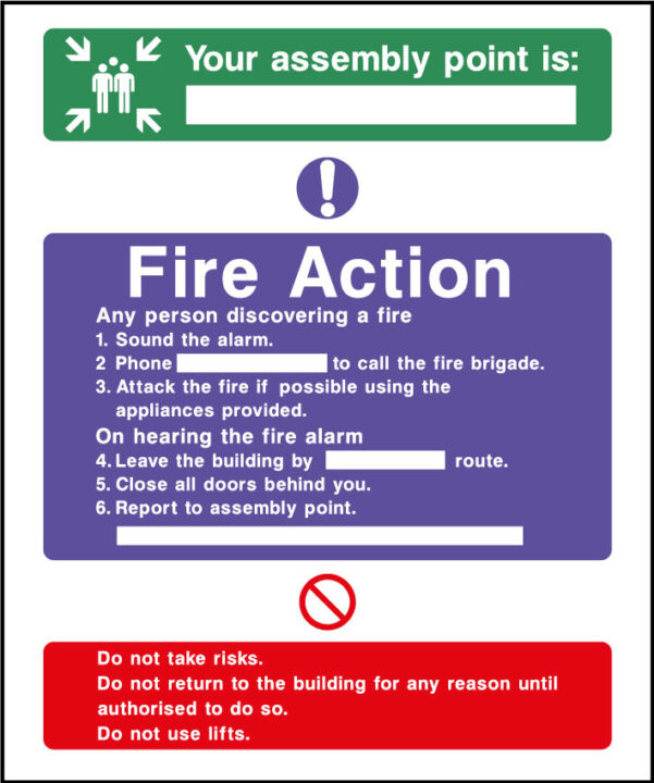 Fire action safety sign - assembley point