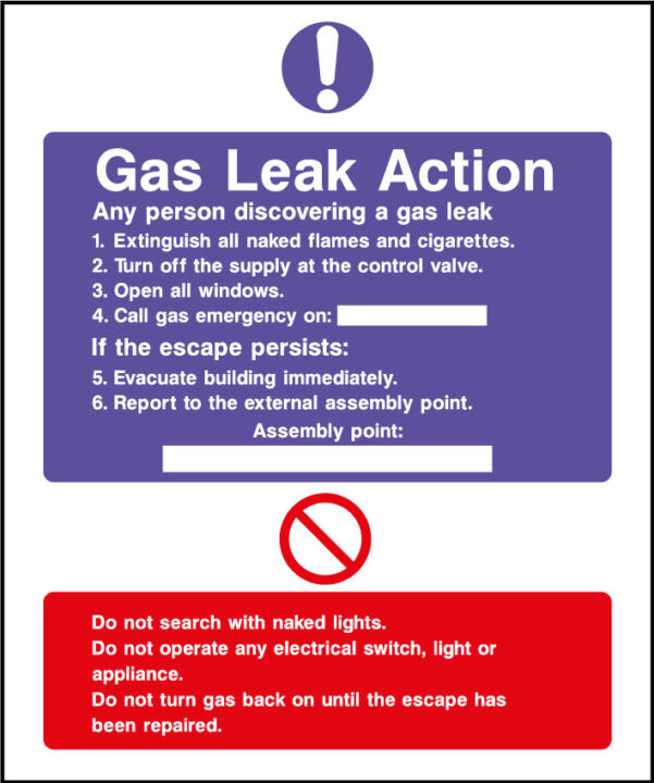 Fire action safety sign - gas leak action