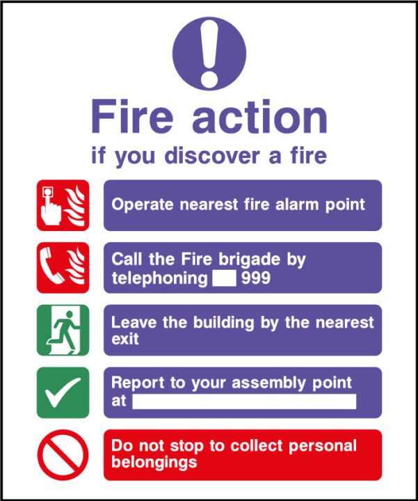 Fire action safety sign