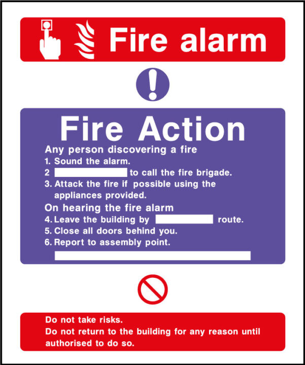 Fire action safety sign - fire action