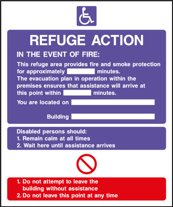 Fire action safety sign - refuge action