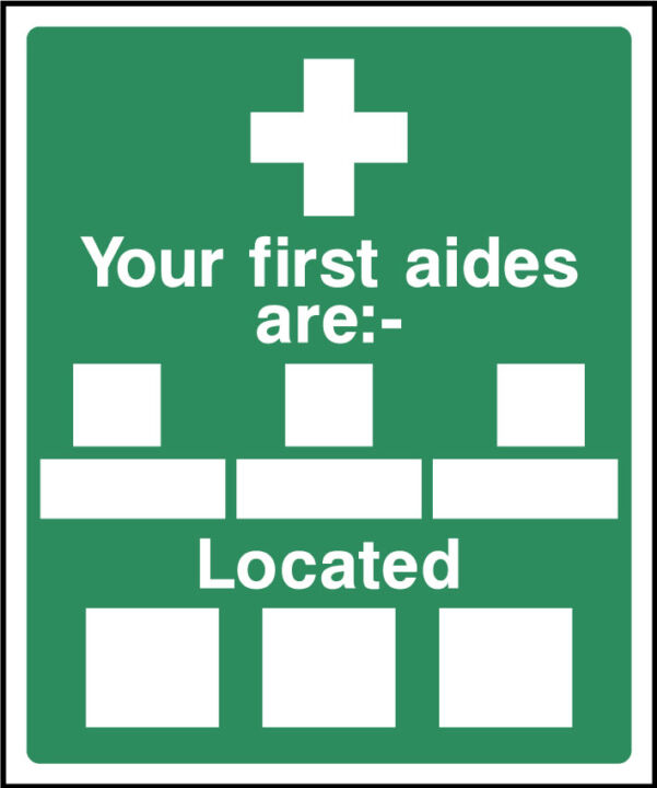 Your first aiders are located sign