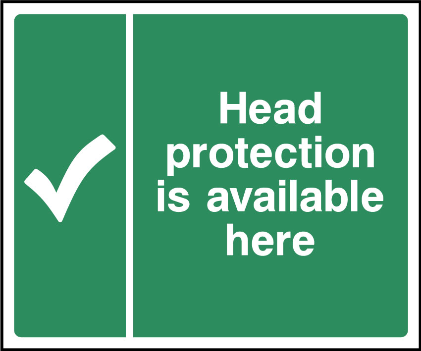 Head protection is available here sign