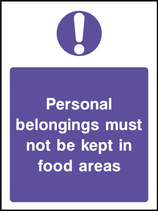 Personal belongings sign