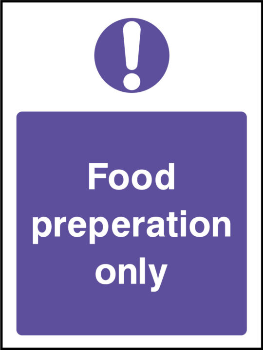 Food preporation sign