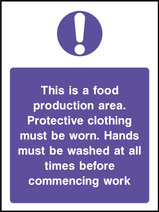Food production area sign