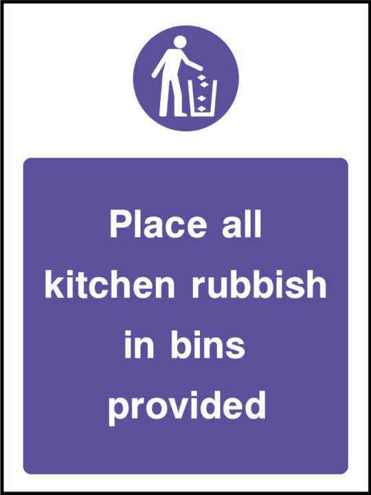 Place all kitchen rubbish in bins provided signs