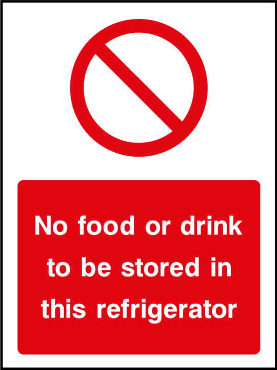 Refridgerator storage sign