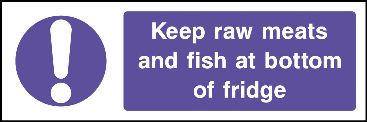 Raw meats and fish storage sign