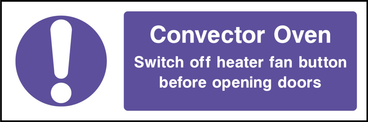 Convector oven sign