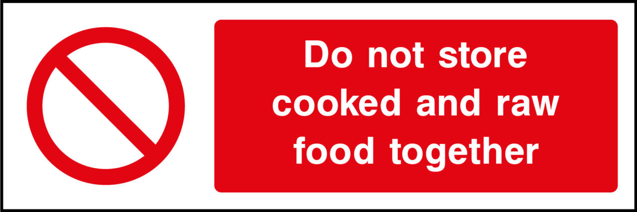 Cooked and raw food storage sign