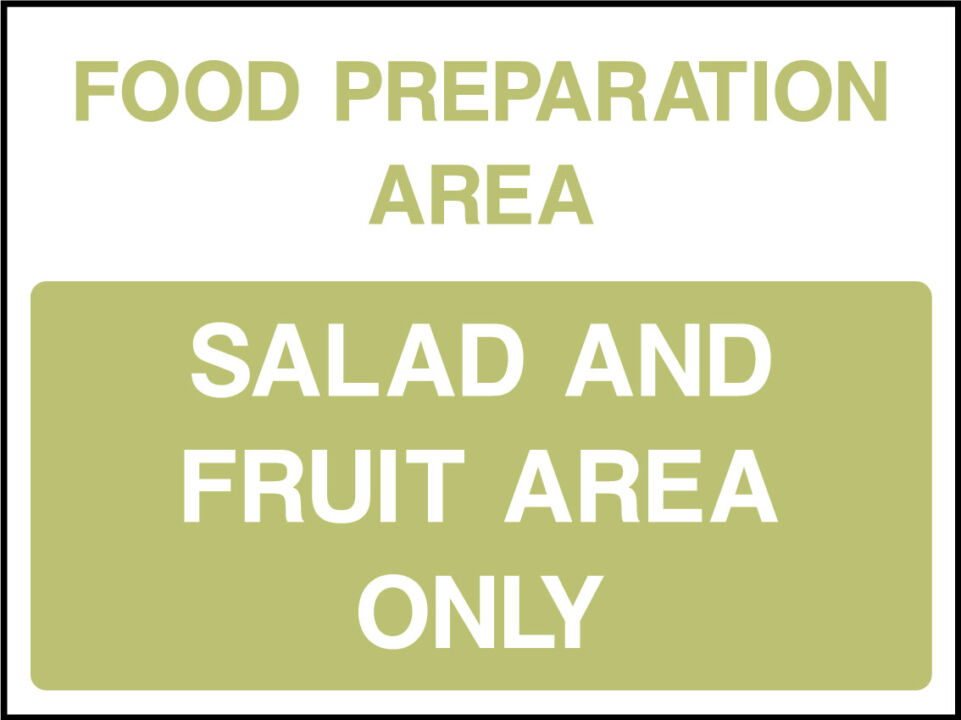 Salad and fruit area sign