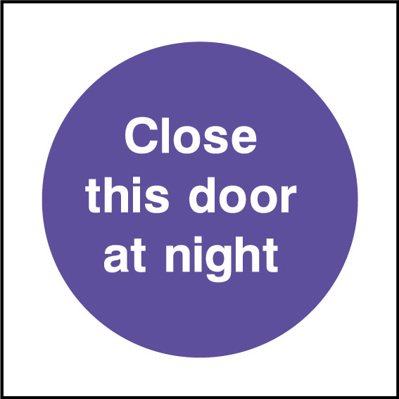 Close this doors at night sign