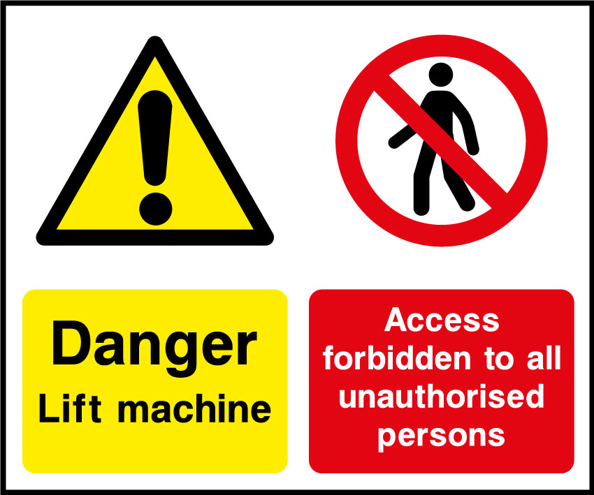 Lift machinery sign