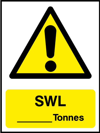 SWL _____ tonnes sign