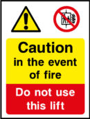 Lift use in event of fire sign