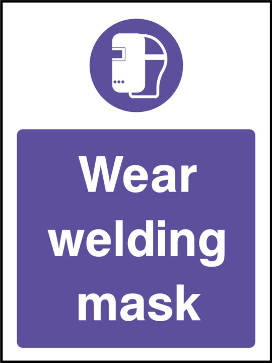 Welding mask sign