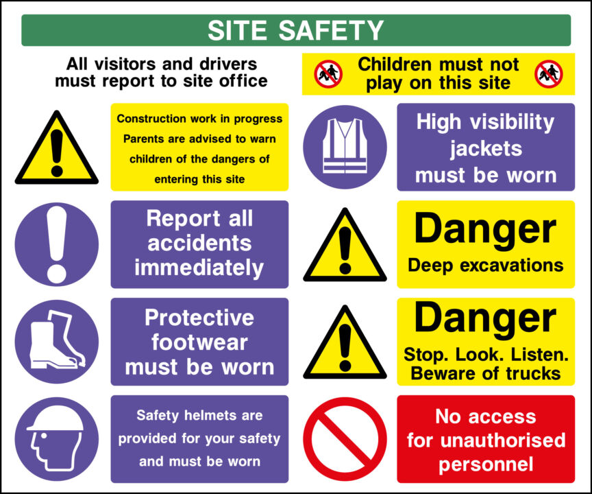 Five Vital Construction Safety Signs Health And Safety Signs